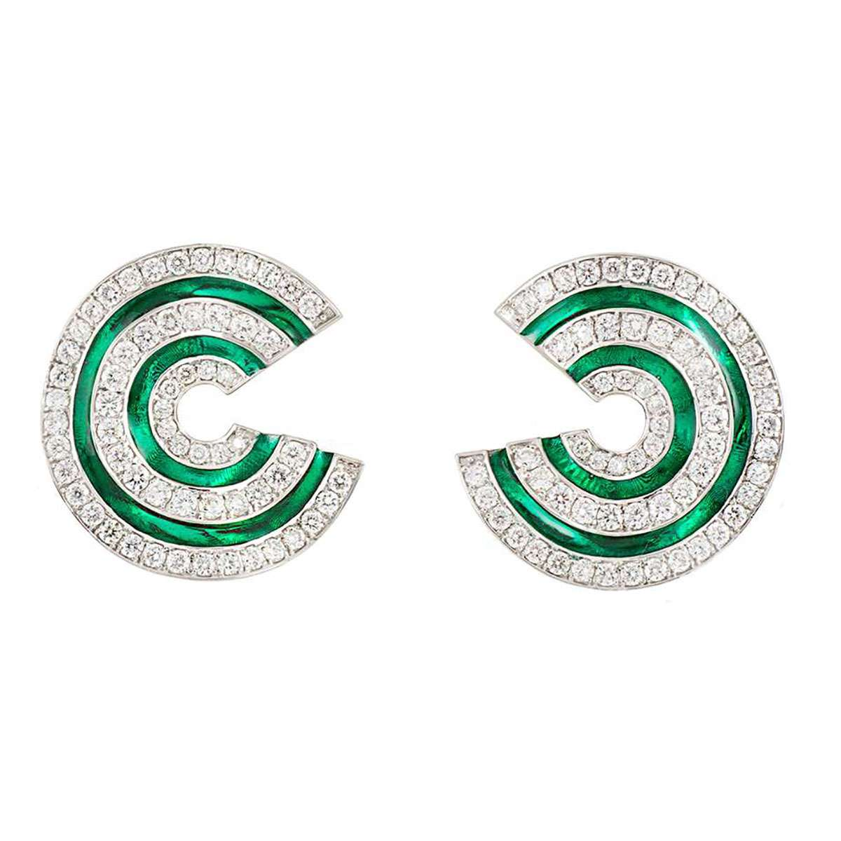 Diamond and Enamel Earrings